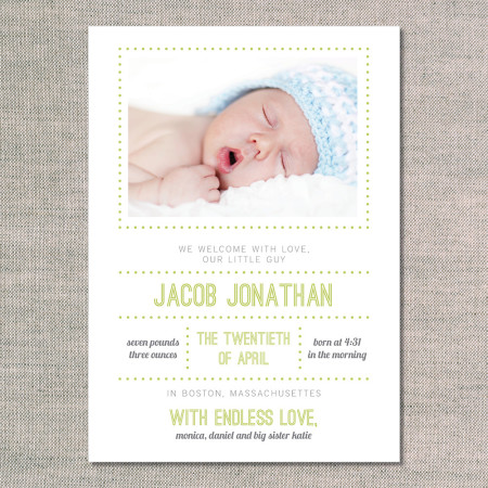 birth announcements: the jacob - front - kiwi