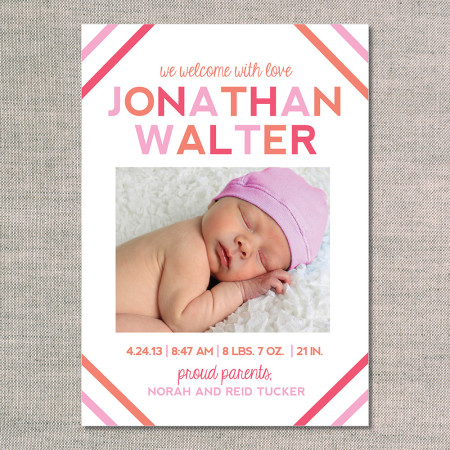 birth announcements: the jonathan - front - flamingo