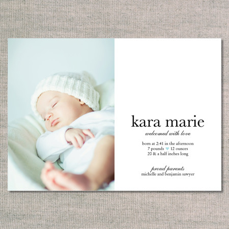 birth announcements: the kara - front - blue