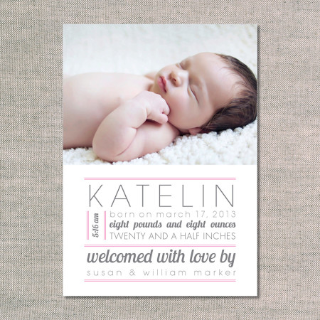 birth announcements: the katelin - front - pink