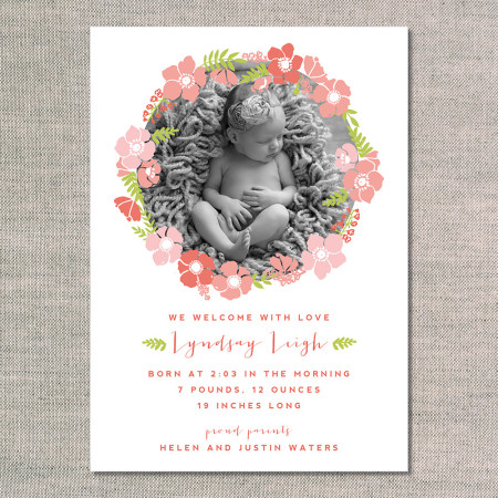 birth announcements: the lyndsay - front