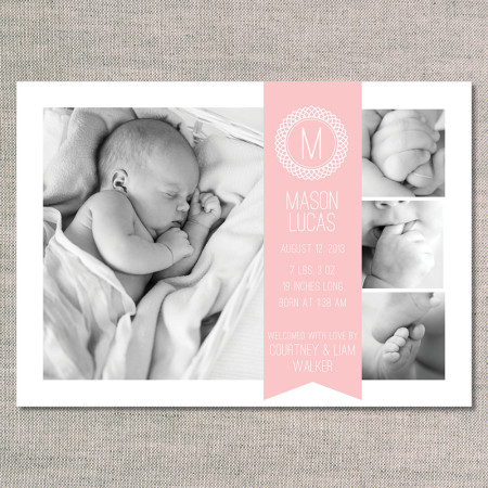 birth announcements: the mason - front - pink lemonade