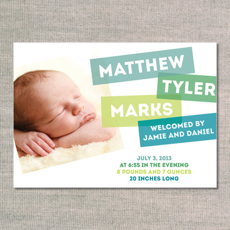 birth announcements: the matthew - front - teal