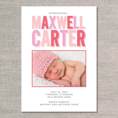 birth announcements: the maxwell - front - pink