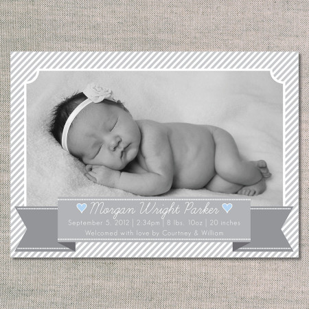 birth announcements: the norah - front - blue