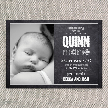 birth announcements: the quinn - front