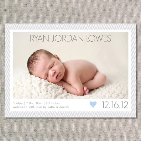 birth announcements: the ryan - front - blue