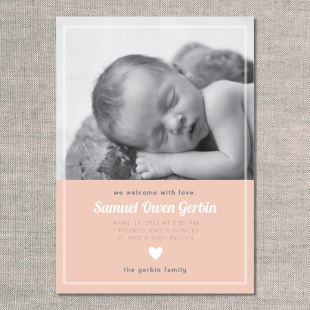 birth announcements: the samuel - front - peach