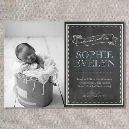 birth announcements: the sophia - front - blue