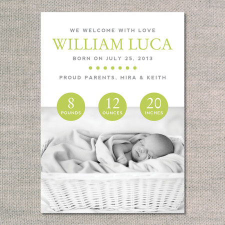 birth announcements: the william - front - kiwi