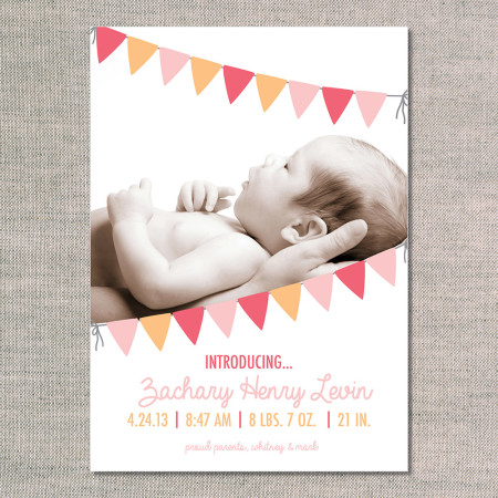 birth announcements: the zachary - front - flamingo