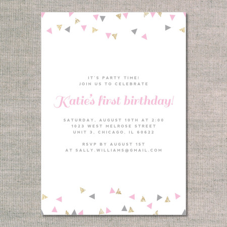 kid's birthday invitations: celebrate with confetti glitter - front