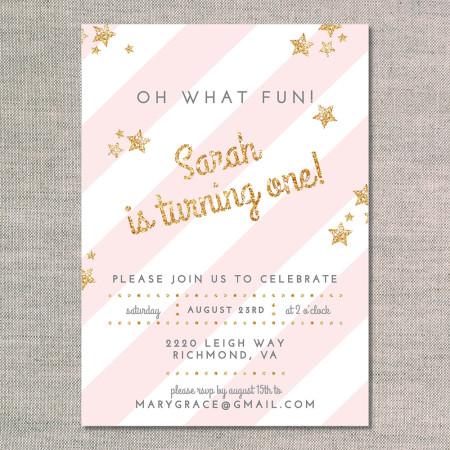 kid's birthday invitations: glitter and stars - front