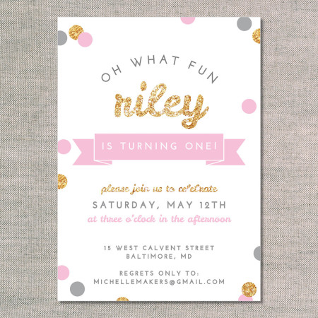 kid's birthday invitations: oh what fun - glitter - front