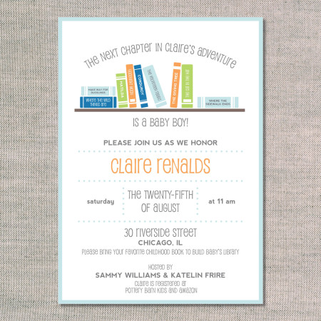 baby shower invitation: books books books - tangerine - front