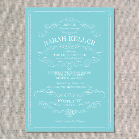 baby shower invitation: embellished vintage - aqua - front
