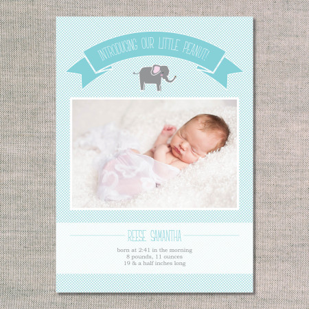 birth announcements: the reese - front - aqua