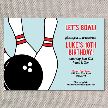 kid's birthday invitations: let's bowl - front