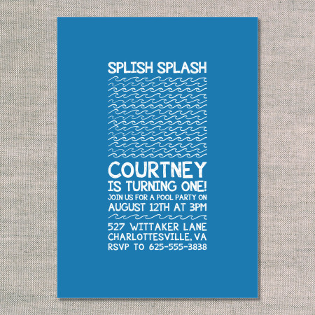 kid's birthday invitations: splish splash - lake - front