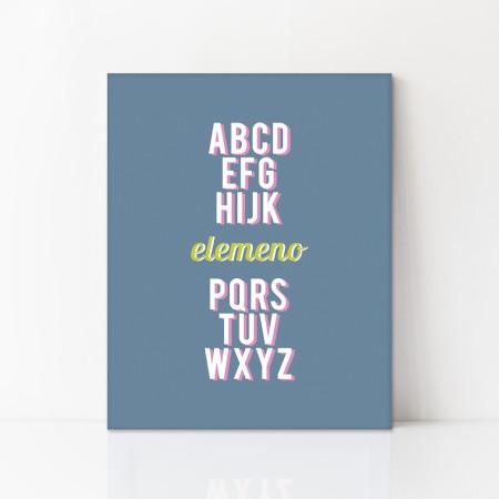 canvas art: elemeno alphabet - slate