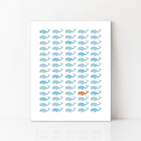 canvas art: rows of whales