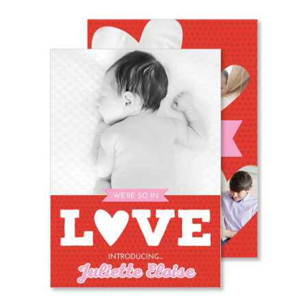 valentine's day birth announcement: the juliette - stacked set