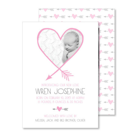 valentine's day birth announcement: the wren - stacked
