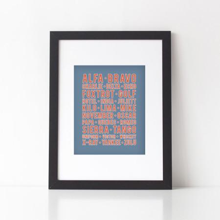 alphabet wall art: alfa bravo charlie - navy