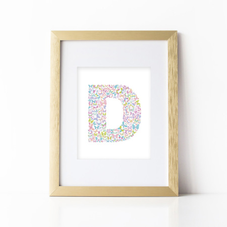 nursery alphabet art: butterfly letter - d