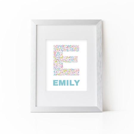 nursery alphabet art: personalized butterfly letter - ocean