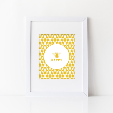 wall prints: bee happy - sunshine