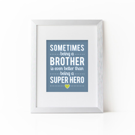 child's wall prints: being a brother - slate