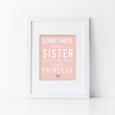 child's wall prints: being a sister - pink lemonade