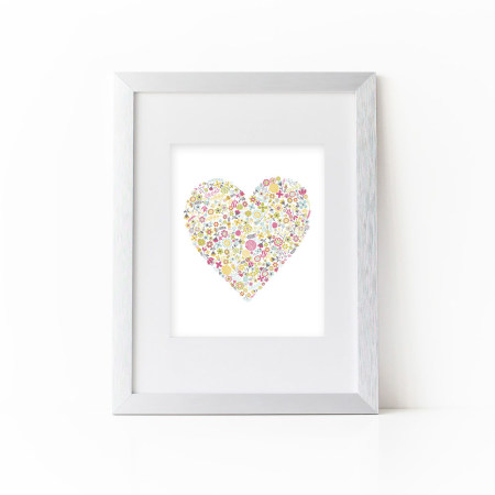 floral wall prints: dainty flower heart - flamingo