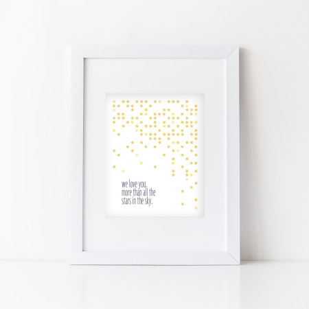 nursery wall art: all the stars - indigo