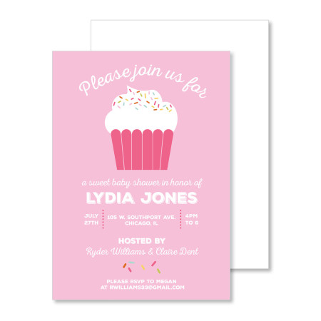 baby shower invitation: cupcake sprinkle - stacked