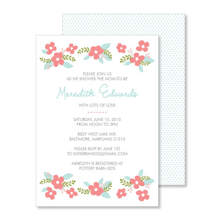 baby shower invitation: flower bunch - coral - stacked