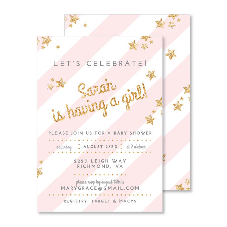 baby shower invitation: glitter and stars - pink lemonade - stacked