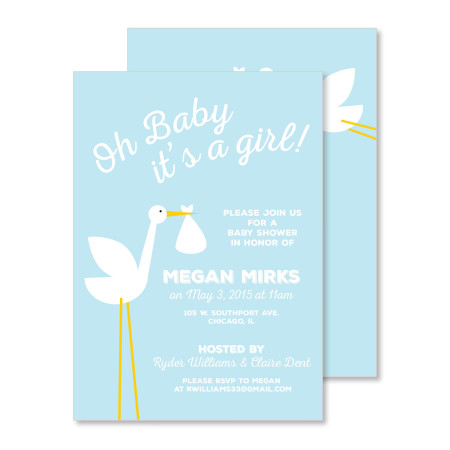 baby shower invitation: it's a stork - blue - stacked