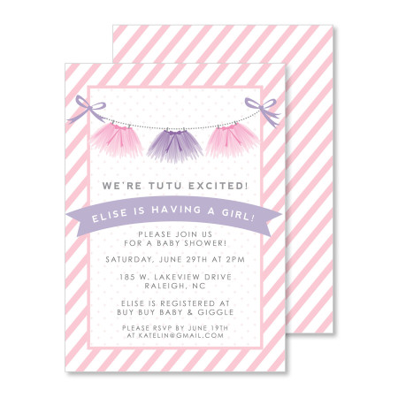 baby shower invitation: tutu excited - stacked