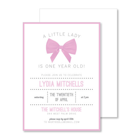kid's birthday invitation: a little lady wears a bow - stacked