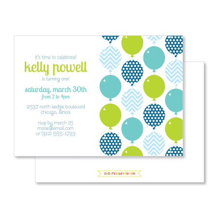 kid's birthday invitation: bright balloons - kiwi - stacked