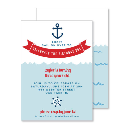 kid's birthday invitation: ahoy matey! - stacked