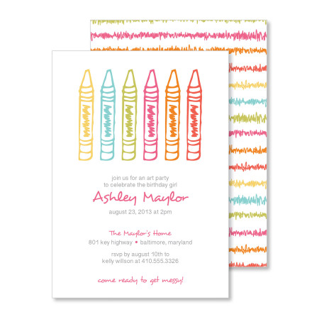 kid's birthday invitation: crayon scribble - stacked