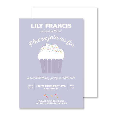 kid's birthday invitation: cupcake party - violet - stacked