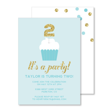 kid's birthday invitation: glitter topper - aqua - stacked