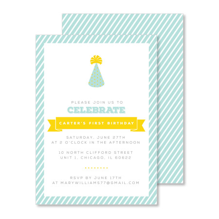 kid's birthday invitation: party hat - stacked
