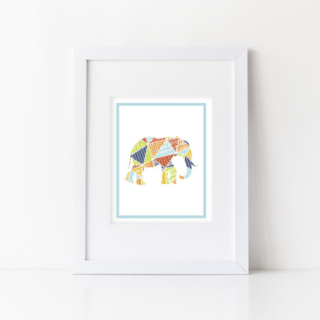 nursery wall art: animal patterns - elephant - aqua