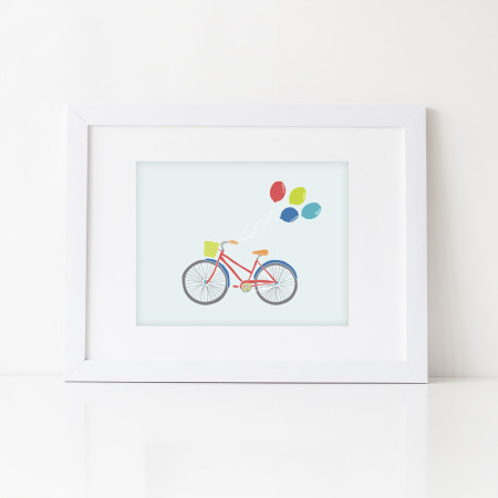 wall prints: bicycle breeze - red
