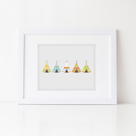 wall prints: five little teepees - kiwi